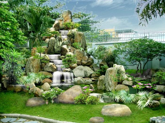 hiết kế hòn non bộ này không khác gì một ngọn núi với thác nước thu nhỏ, đem lại cảm giác vô cùng thư thái.